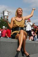 Maria Sharapova in hot dress with the trophy