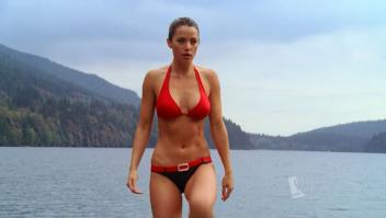 Erica Durance in hot red bikini