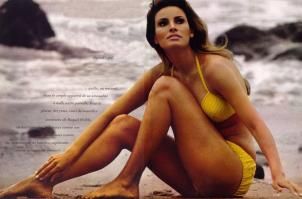 Raquel Welch in bikini on sand