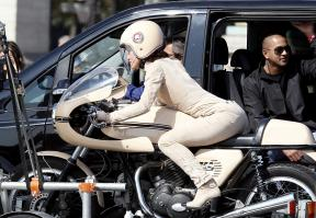 Keira Knightley on a motorbike