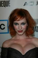 Christina Hendricks in dress with huge tits